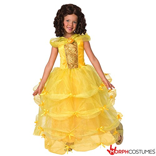 Deluxe Storybook Princess Costumes (Storybook Deluxe Princess Girls Costume Yellow - Med 8 - 10 Years)