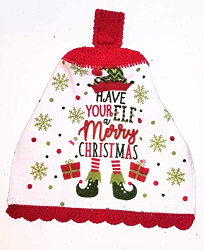 Elf Merry Christmas Crochet Top Hanging Kitchen Towel with Decorative Bottom Edge