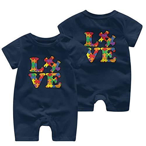 UGFGF&3 Autism Awareness Puzzle Piece Baby Boy Short Sleeve Bodysuit Bodysuits 0-24 Months Navy