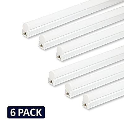 (Pack of 6) Barrina LED T5 Integrated Single Fixture, 4FT, 2200lm, 6500K (Super Bright White), 20W, Utility Shop Light, Ceiling and Under Cabinet Light, Corded electric with built-in ON/OFF switch