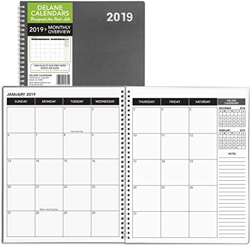 Clearance Sales! Monthly Planner 2019 Calendar/Appointment Book, Grey Cover, 8.5 x 11 inches, 15 Months (AP-002)