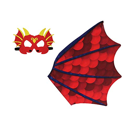HugeHug Little Adventures Dragon Costume Mask & Wing Cape (Ages 3-8)(Red) ()