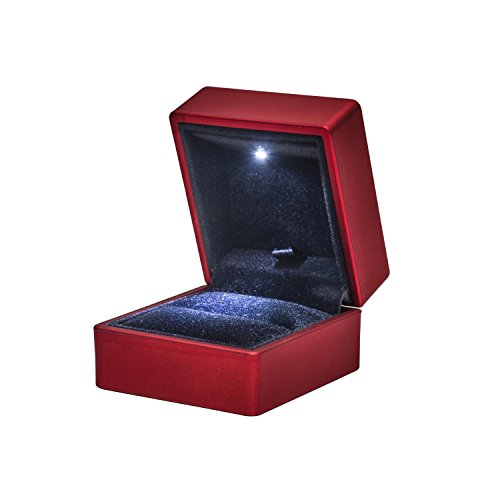 Noble RED Light LED Single Ring Jewelry Box Deluxe For Engagement, Proposal or Special Occasions by Noble