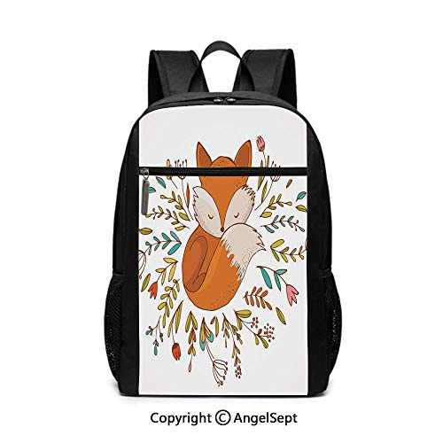 Travel Backpack Laptop Backpack,Cute Baby Fox Sleeping in a Floral Made Bed Circle Art Print,Dark Orange White Teal Coral,6.5