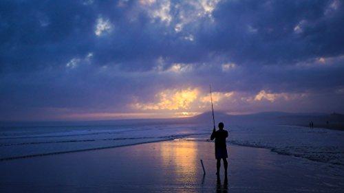 laminated poster man fishing under