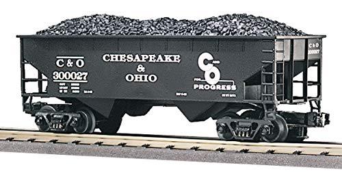 MTH 1:48 O Scale C&O #300027 2-Bay Offset Hopper Coal Load Car Train #20-97416