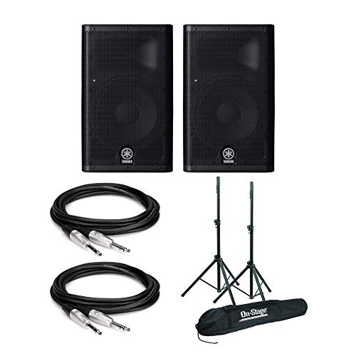 (Yamaha DXR8 8-Inch 950W Powered Speakers (Pair) Bundle with Speaker Stands and Patch Cables)