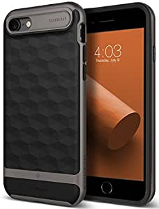 Caseology [Parallax Series] Case for iPhone 8 / iPhone 7 - Slim Design Protective Dual Layer Textured Cover Secure Grip Geometric - (Black / Warm Gray)