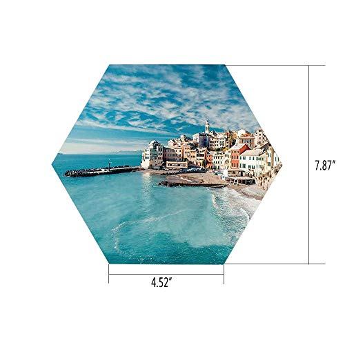 - iPrint Hexagon Wall Sticker,Mural Decal,Farm House Decor,Panorama of Old Italian Fish Village Beach Old Province Coastal Charm Image,Turquoise,for Home Decor 4.52x7.87 10 Pcs/Set