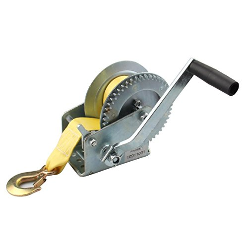 Bang4buck Hand Winches with 19.69 Feet Hand Crank Strap Heavy Duty Puller for ATV Jet Ski Trailer Boat Cars (2000 lb Capacity) (Boat Puller Hand)