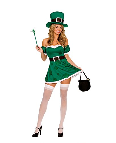 Dreamgirl Women's Irish Leprechaun Adult Costume, Green, Large -