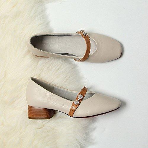 Jqdyl Tacones Zapatos de tacón grueso moda mujer apricot
