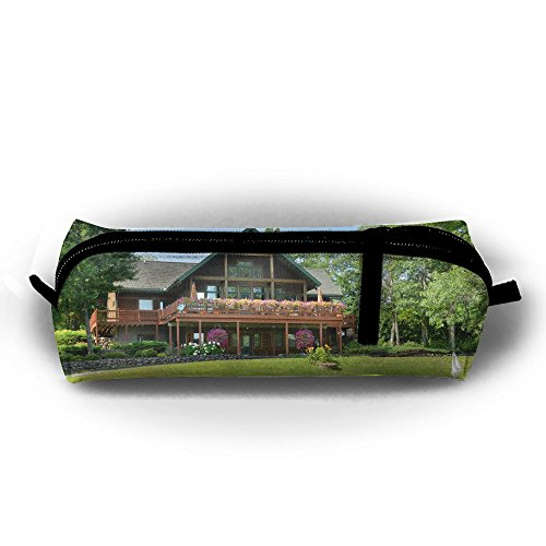 Ppppllll Wisconsin Golf Course Zipper Travel Cases Makeup Handbag Resistance Carrying Handle Cosmetic Hanging Bag Accessories Toiletries Pouch Power Lines Documents Bag ()