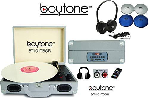 Boytone Bundle BT-101TBGR Turntable Briefcase Record Player