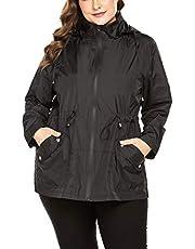 IN'VOLAND Women's Plus Size Rain Jacket Waterproof Coat Windbreaker