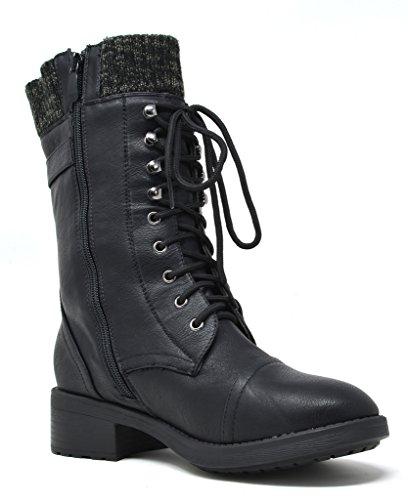DREAM PAIRS Women's Amazon Black Mid Calf Combat Riding Boots Size 6 M US