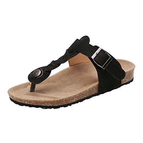 Newlyblouw 2019 New Women's Casual Peep Toe Flat Sandals Ladies Summer Fashion Woven Beach Slippers Roman Shoes Black