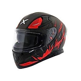 Vega Axor Apex Hunter D/V Injection Moulded Polycarbonate Dull Black Red Helmet (XL)
