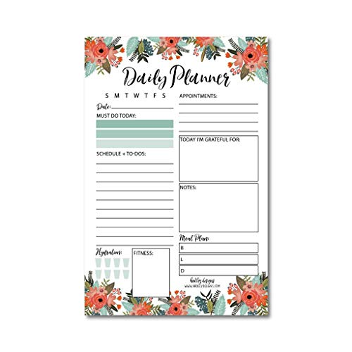 Floral Undated Daily Task Planner to do List Pad, School Family Life Work Personal Productivity Notepad, Day Schedule Organizer, Cute Birthday Gift Idea, Fitness Goal Habit Tracker 50 Tear Off Pages