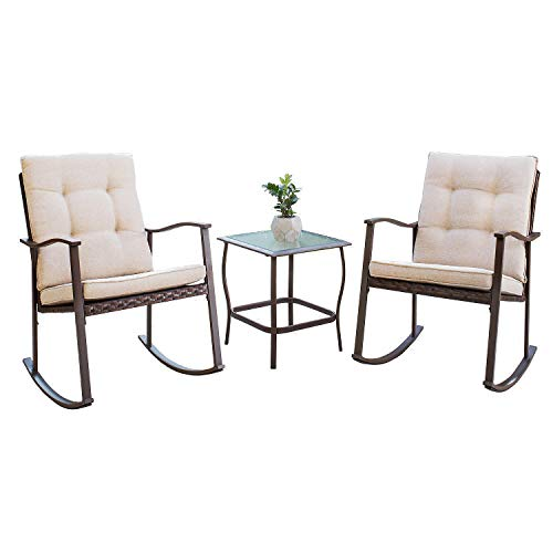Friends Furniture Set - Solaura Outdoor Furniture 3-Piece Rocking Wicker Bistro Set Brown Wicker with Beige Cushions - Two Chairs with Glass Coffee Table