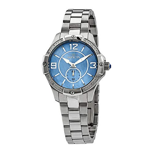 Invicta Women's 10218 Angel Diamond Accented Blue Mother-Of-Pearl Dial Stainless Steel Watch - Pearl Quartz Blue