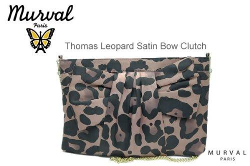 Murval Thomas Leopard Satin Bow Clutch (Black)