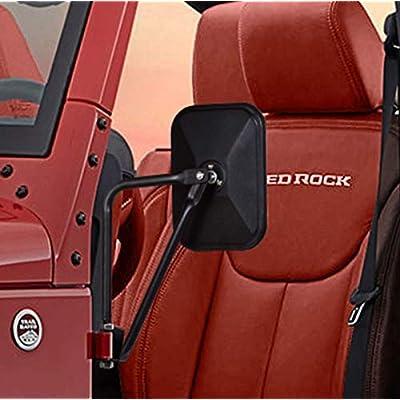 Esright Rectangular Adventure Door Hinge Mirrors Side View Shake-Proof Door Off Mirror for All Jeep Wrangler JK,JL(07-18), (1 Pair Textured Black): Automotive