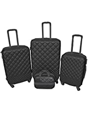 New Travel Luggage Trolley Bags , 4 Peices , Black , RP857-4P