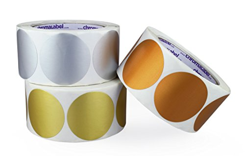 ChromaLabel 2 inch Metallic Color-Code Dot Labels | Assorted Gold, Silver, Bronze | 500/Roll (1,500 Total)