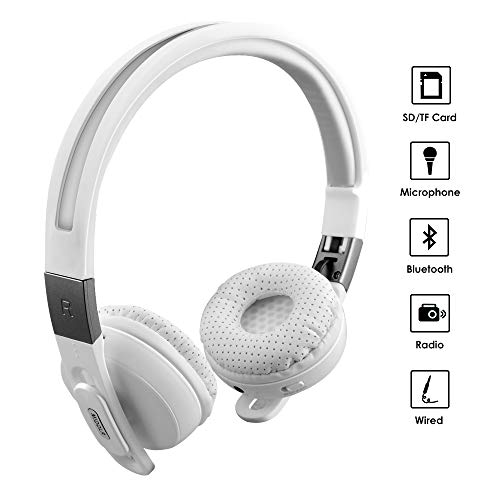MIDOLA Sports Bluetooth Headphones Wireless Wired On-Ear Foldable Portable Durable Adjustable Lightweight, with Soft Earmuffs, TF Card Slot, 3.5mm AUX Jack, FM Radio, Built-in Mic for Cellphone Tablet