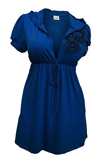 - eVogues Plus size Blue Low cut v-neck Hoodie top - 2X