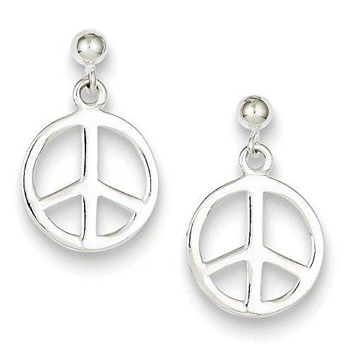 925 Sterling Silver Polished Peace Emblem Post Dangle (Polished Dangle Post)