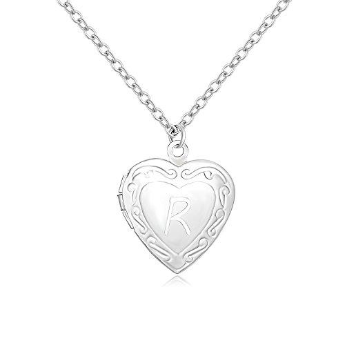 Frame Heart Locket Necklace - SENFAI Initial Alphabet Letter Heart Shaped Photo Frame Memory Locket Pendant Necklace 18