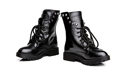 Classiques Sport Boots Bottines Martin Ubeauty Noir Chaussures Bottes Rivet Velours Femme À Flattie Lacets 8wYqX