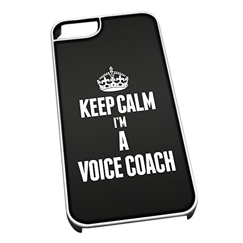 Bianco cover per iPhone 5/5S 2710 nero Keep Calm I m A Voice Coach