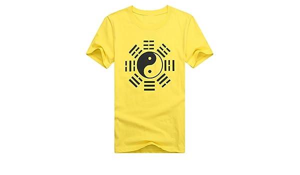ICNBUYS Hombres de Tai Chi Camiseta Eight Trigrams Gris Negro Azul Amarillo Rojo, Hombre, Amarillo: Amazon.es: Deportes y aire libre