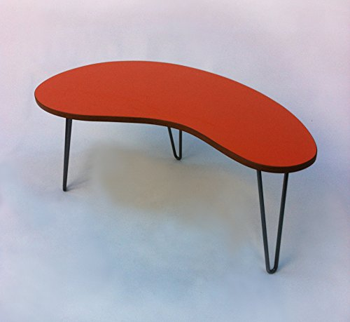 Orange Kidney Bean Shaped Mid Century Modern Coffee or Cocktail Table - Atomic Age