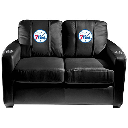 XZipit NBA Silver Loveseat with Philadelphia 76ers Secondary Logo Panel, Black