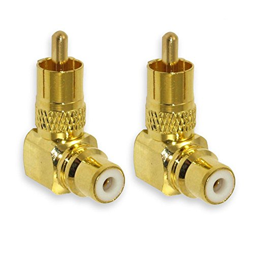 Besmelody 2-Pack Premium RCA Male to Female Plug Adapters M/F Gold-Plated Metal Connector 90 Degree Right Angle
