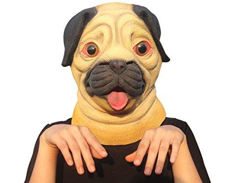 Aqkilo Pug Dog mask Latex Animal Head mask Halloween Costume ()