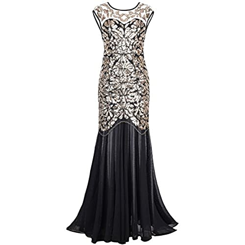 PrettyGuide Women s 1920s Black Sequin Gatsby Maxi Long Evening Prom Dress, Gold - 14/16