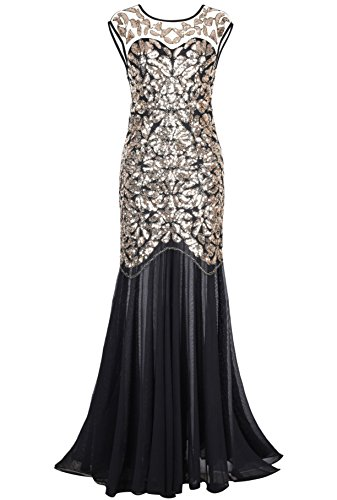 PrettyGuide Women 's 1920s Black Sequin Gatsby Maxi Long Evening Prom Dress, Gold - 6/8 -