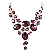 Ever Faith Fashion Icon Oval Rhinestone Art Deco Bib Statement Necklace