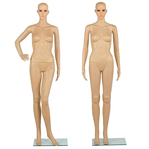 Yaheetech Adjustable Full Body Realistic Female Mannequin for Display Head Turns Dress Form with Stable Glass Base 68.9
