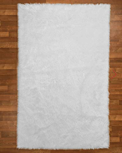 Natural Area Rugs Sheep Wool Emory Polyester Rug 5 x 8 Ice