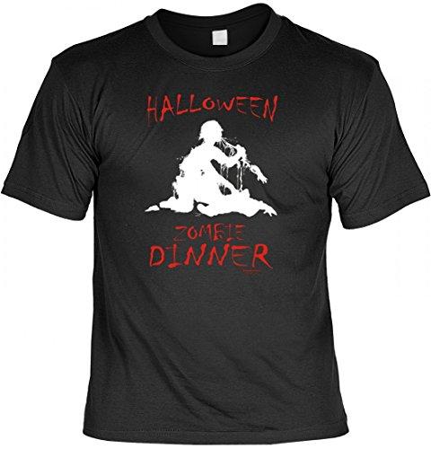 T-Shirt mit gruseligen Aufdruck - Zombie Dinner - Horror Geister Monster Verkleidung Halloween Party Geschenk
