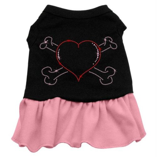 Mirage Pet Products Rhinestone Heart and Crossbones 14-Inch Pet Dress, Large, Black with Pink (Crossbones Heart)
