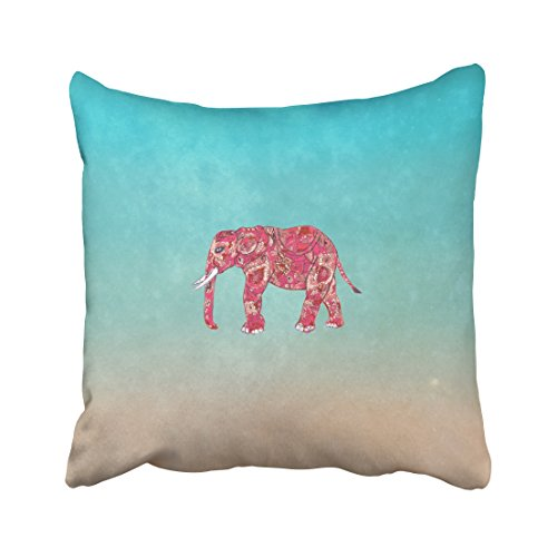 Musesh whimsical colorful elephant tribal floral paisley Cushions Case Throw Pillow Cover For Sofa Home Decorative Pillowslip Gift Ideas Household Pillowcase Zippered Pillow Covers (Beige Lily Shade)