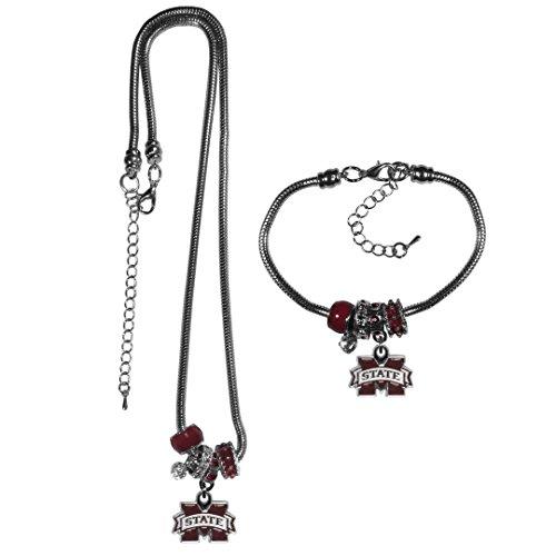 Siskiyou NCAA Mississippi State Bulldogs Euro Bead Necklace & Bracelet Set