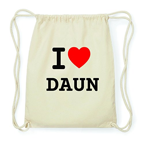 JOllify DAUN Hipster Turnbeutel Tasche Rucksack aus Baumwolle - Farbe: natur Design: I love- Ich liebe ocC3elkmUv
